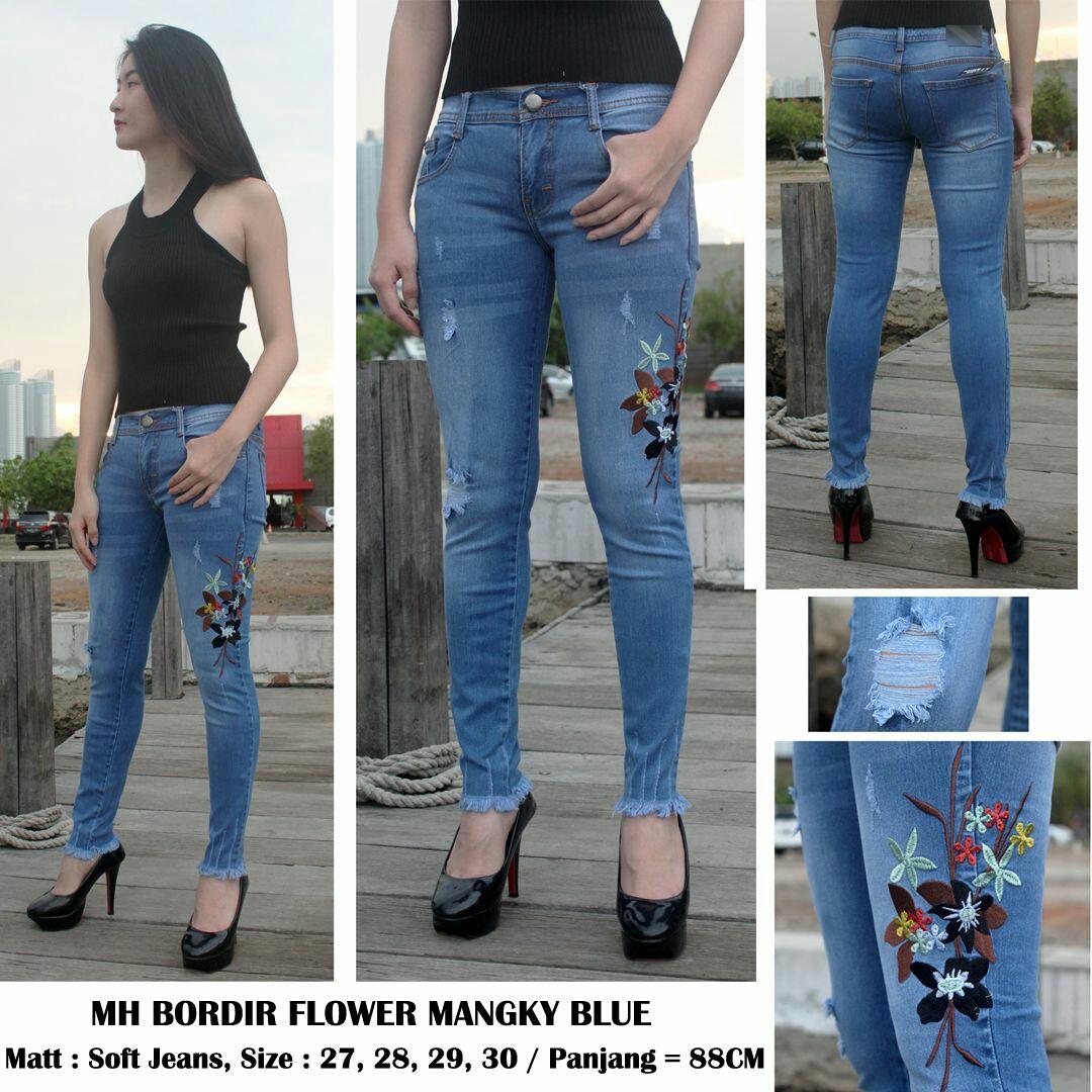 Mh bordir flower mangky blue