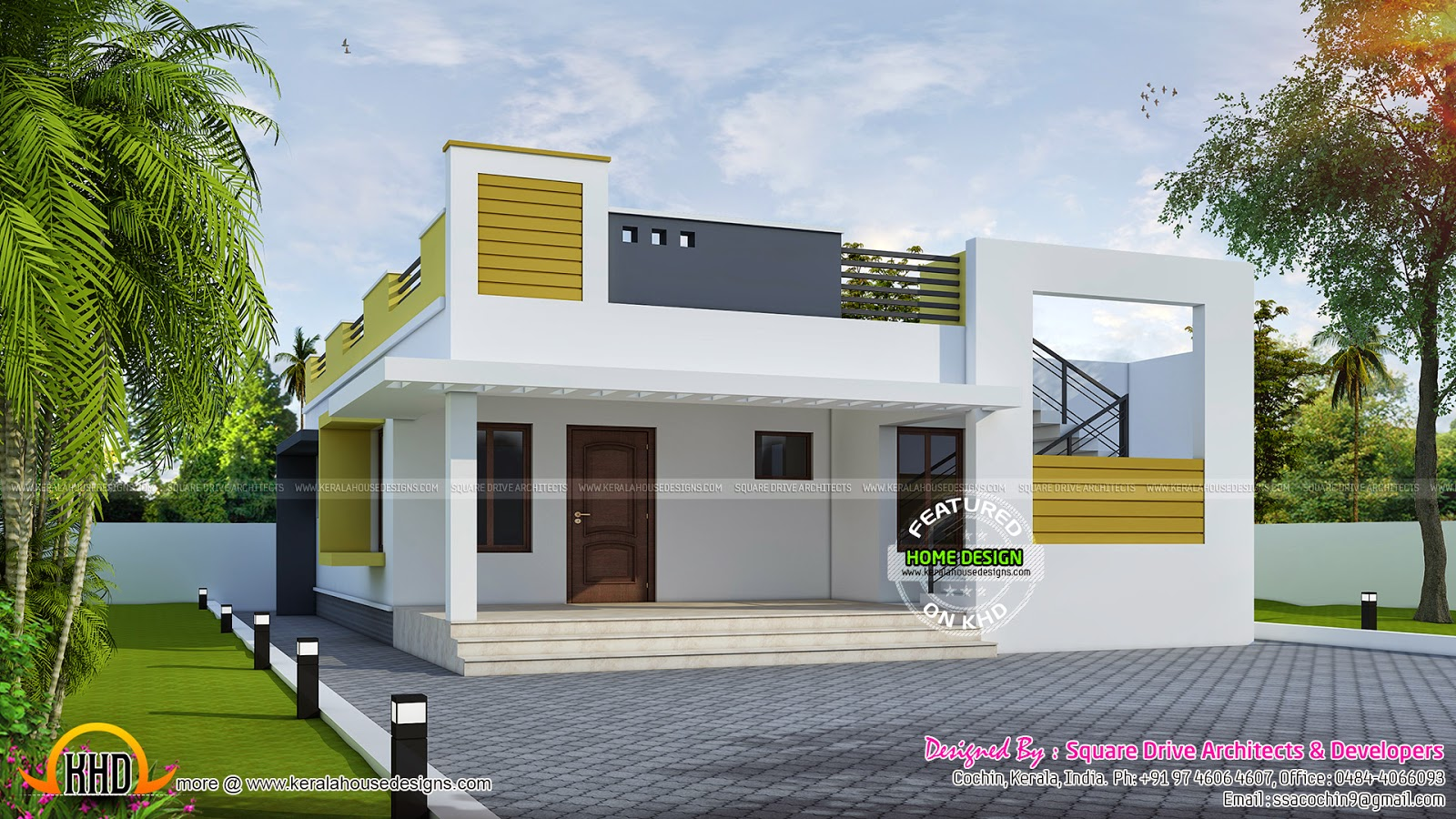 Simple contemporary home - Kerala home design and floor plans
