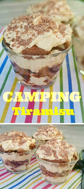 This is a must-have recipe for Tiramisu when camping ~ creamy, chocolatey and always a favorite ~ quick and easy to make with a non-alcoholic suggestion too !
