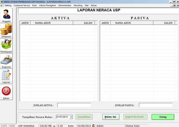 Software Koperasi Karyawan Garuda - Neraca Bulanan