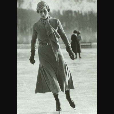 Young woman ice skating in 1933 Madeleine de Rauch costume
