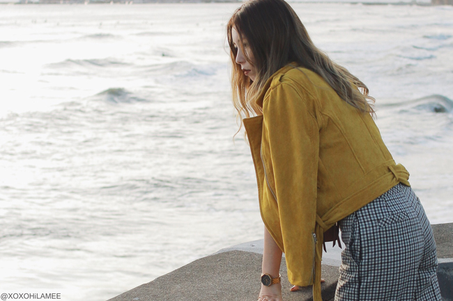 Japanese Fashion Blogger,Mizuho K,2017/11/11OOTD,SheIn-white tee,CHICWISH-yellow biker jacket,ZAFUL-multi color crossbody bag,Farfetch-twinset-glen check wide leg pants,SheIn-sock boots,SHICHIRIGAHAMA