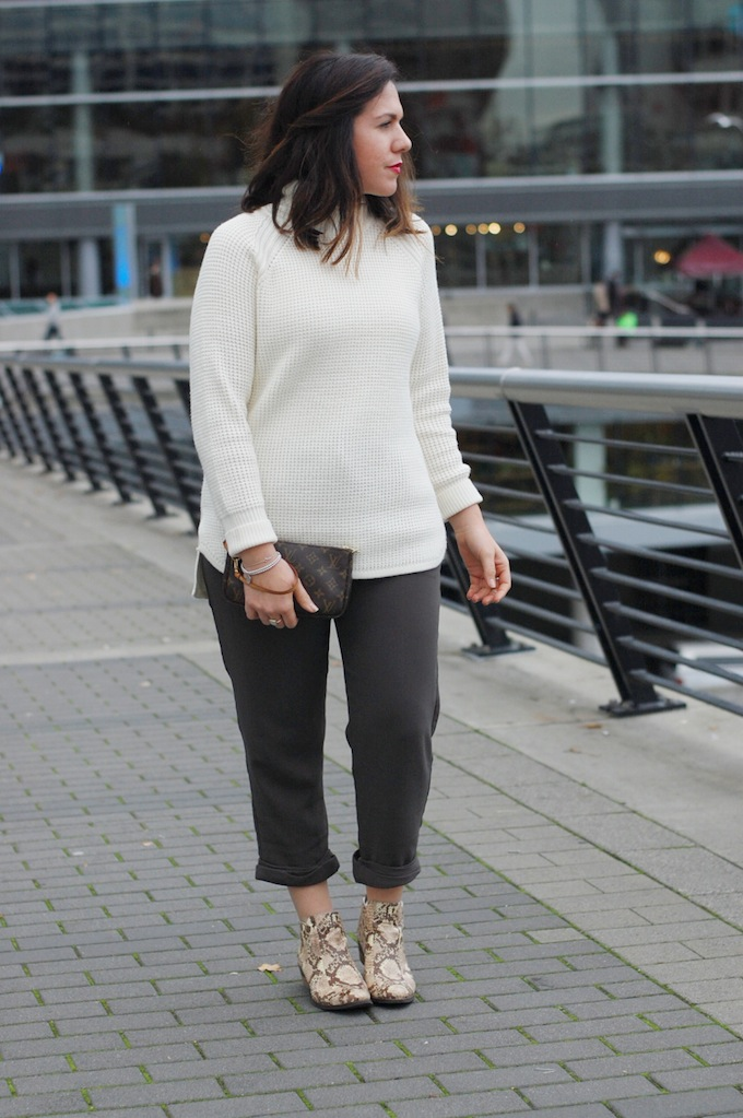 Banana Republic turtleneck sweater, Aritzia pants and Vince Camuto snakeskin Corral boots