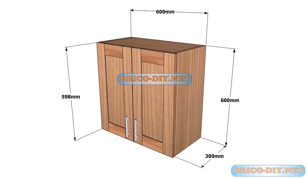 Mueble de cocina plano alacena de madera cedro 60 cm de for Muebles de cocina planos pdf