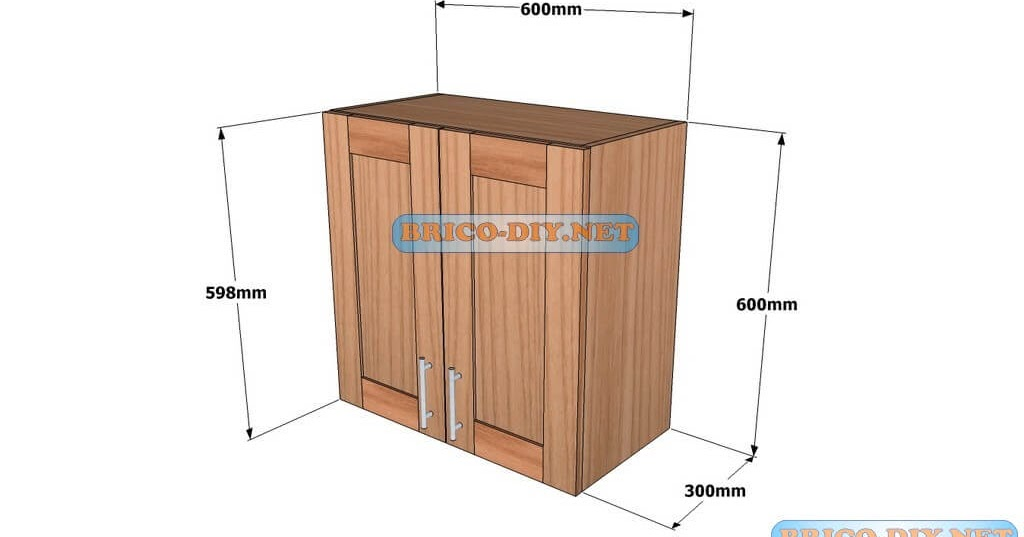 Mueble de cocina plano alacena de madera cedro 60 cm de for Manual para muebles de cocina