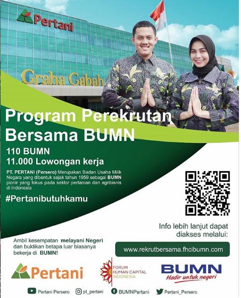 Lowongan PT Pertani (Persero) Via Rekrut Besama FHCI BUMN