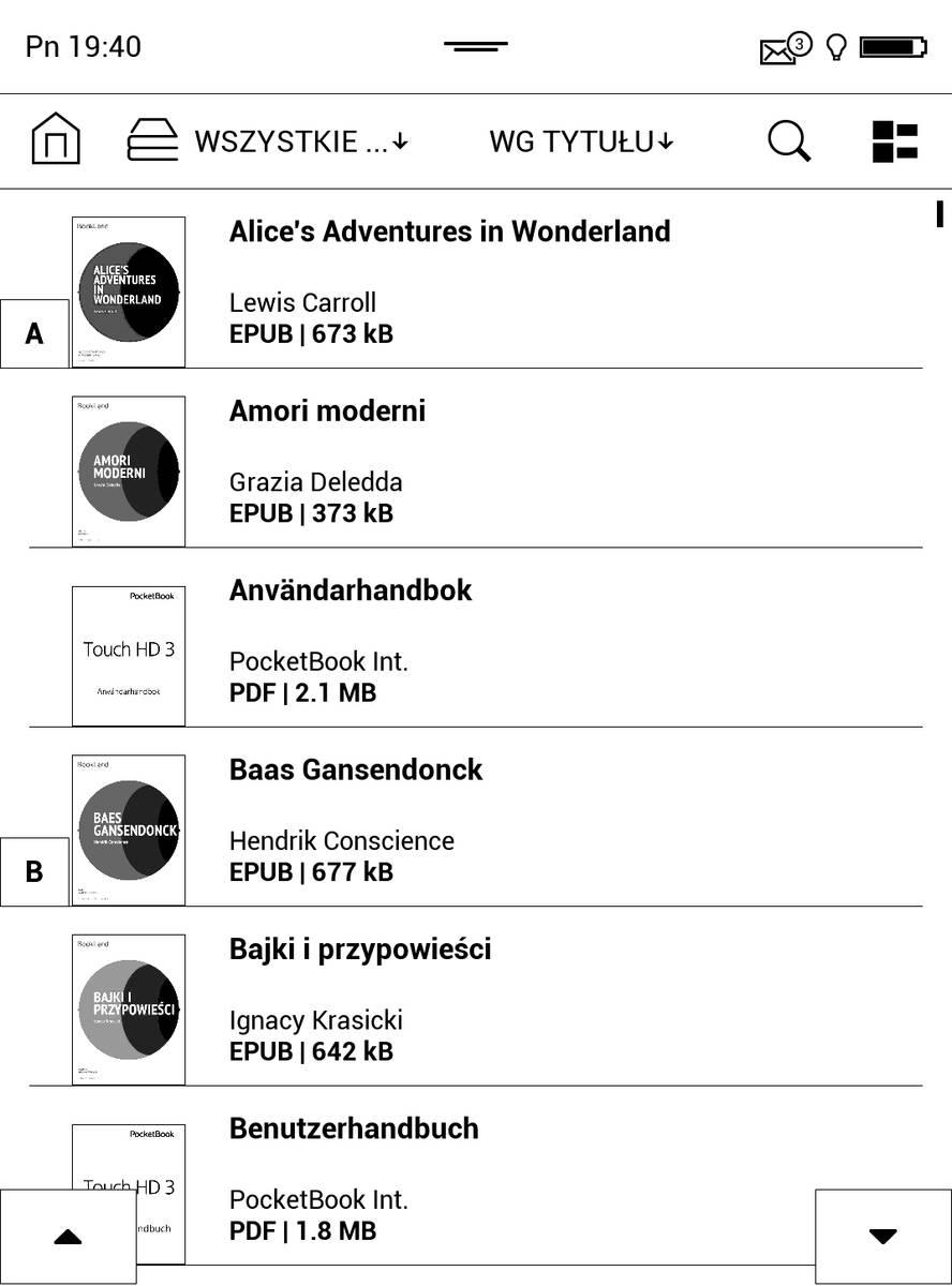 Biblioteka w PocketBook Touch HD 3 – tryb listy rozszerzonej