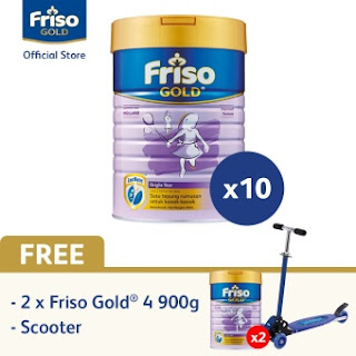Friso Gold 4 900gx10 + Free Friso 4 2x900g & Scooter