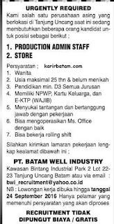 Lowongan Kerja PT. Batam Well Industry (Ditutup 24 September 2016)