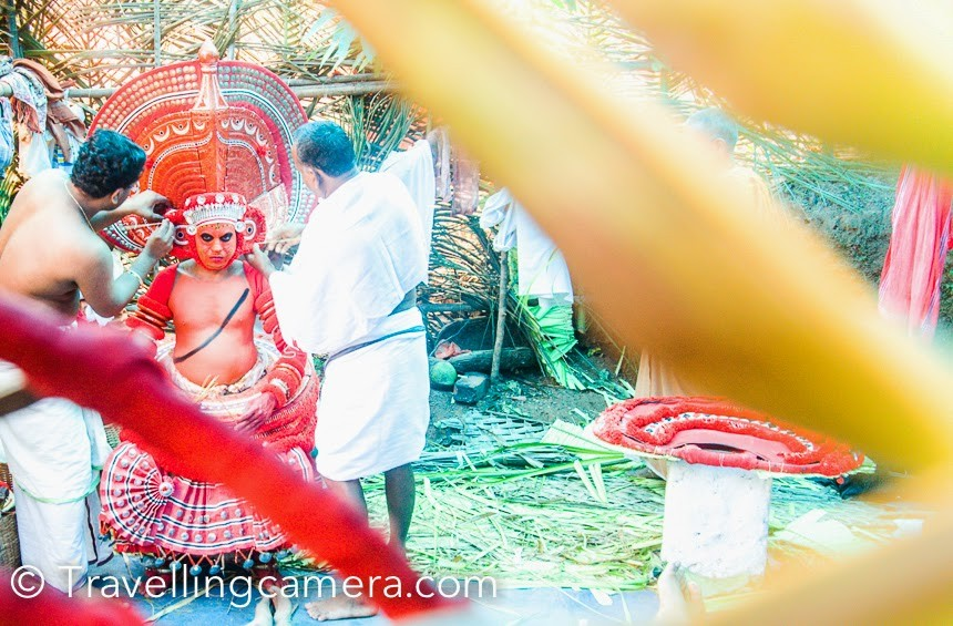 It was Theyyams we were excited about when we were in Kerala in December 2014. We happened to be at Kannur at the right time. And if you are there close to Theyyam festival, make sure you pay them a visit. It will be worth it. The fact that two years later, I am writing a time-turner post about the entire festival from memory is an indication of how impactful it is.