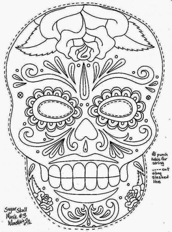 1465089205sugar Skull Mask Sugar Colorings For Kids Free Day Of ... | 800x594