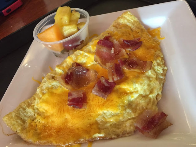 Cheesy omelet with bacon from Bagels and More in Beloit, Wisconsin.