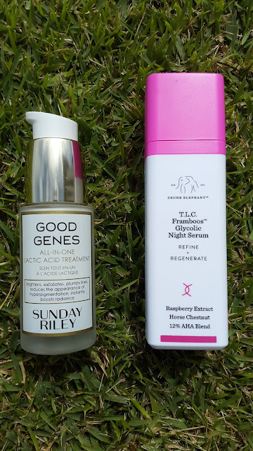 Sunday Riley Good Genes and Drunk Elephant T.L.C Framboos Glycolic Night Serum - www.modenmakeup.com