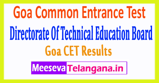 Goa Common Entrance Test GCET Exam Results 2017