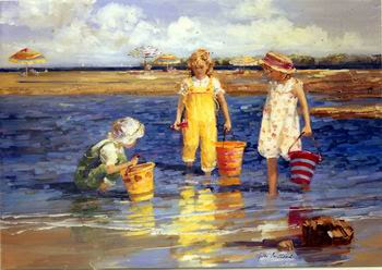 Cuadro infantil: niños en la playa jugando con arena