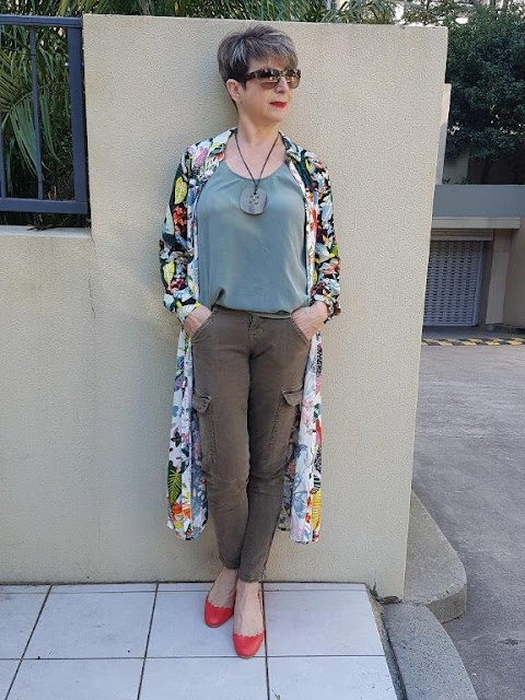 Green cargo pants-green sleeveless top-red shoes-floral-shirt-dress