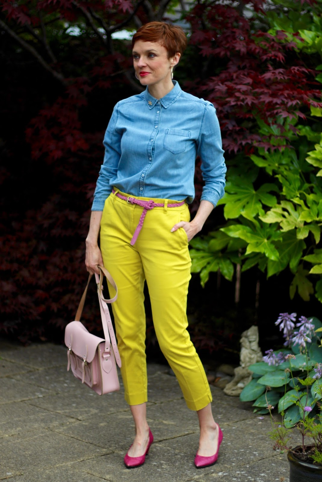 Bold can be Neutral | Yellow trousers, Pink shoes & Chambray | Fake Fabulous