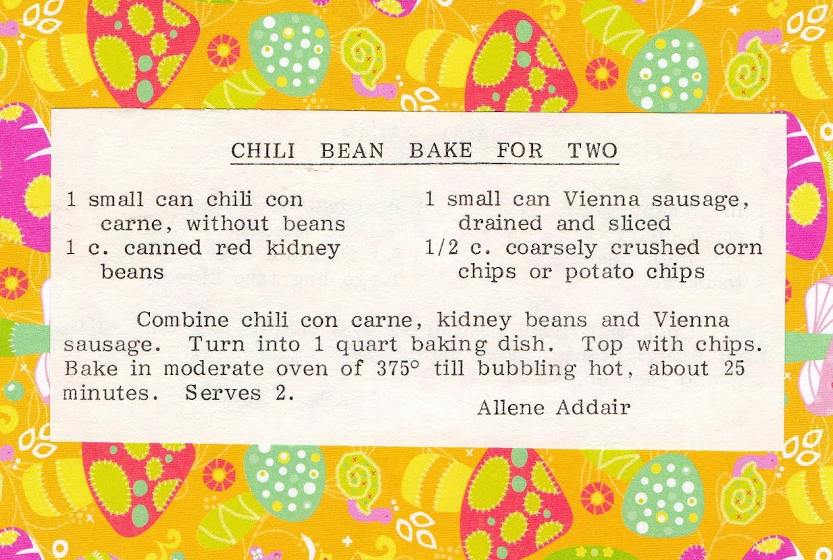 Chili Bean Bake for Two (quick recipe)