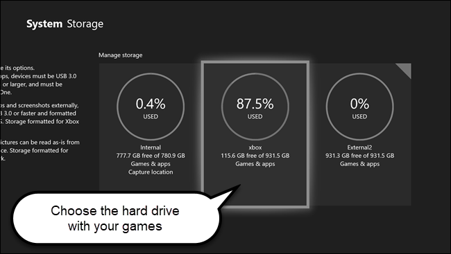 قائمة تخزين نظام Xbox مع الاتصال بها على القرص الصلب الذي يحتوي على ألعاب.