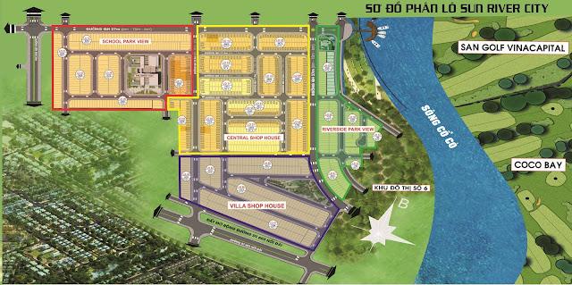 sơ đồ phân lô dự án sun river city
