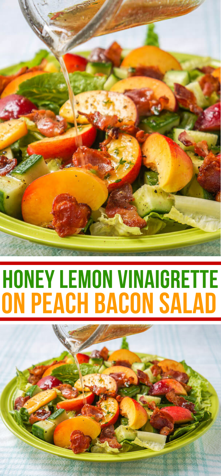 HONEY LEMON VINAIGRETTE ON PEACH BACON SALAD #vegetarian #fruits