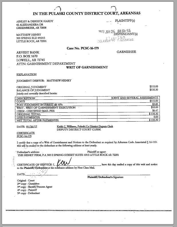 Bad Attorneys in Arkansas: MATTHEW MAHLON HENRY - NEVER MET