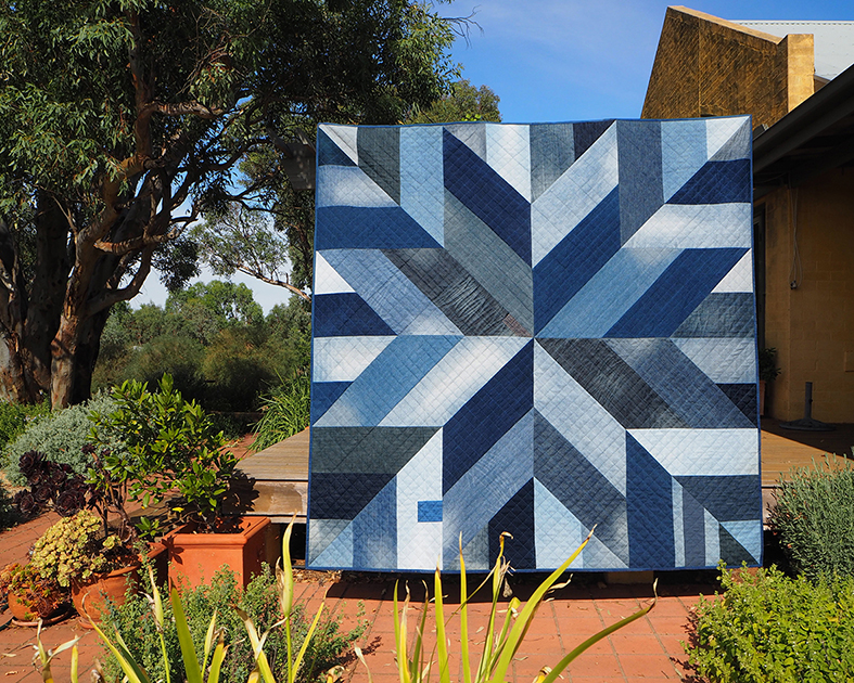 Denim quilt made with upcycled jeans. Buy the pattern and make your own