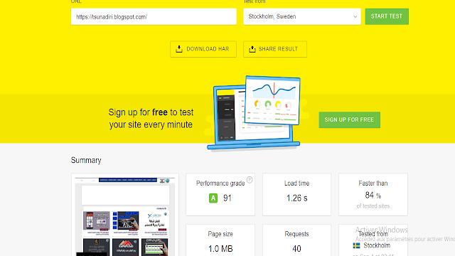 قياس سرعه تحميل المدونه او الموقع