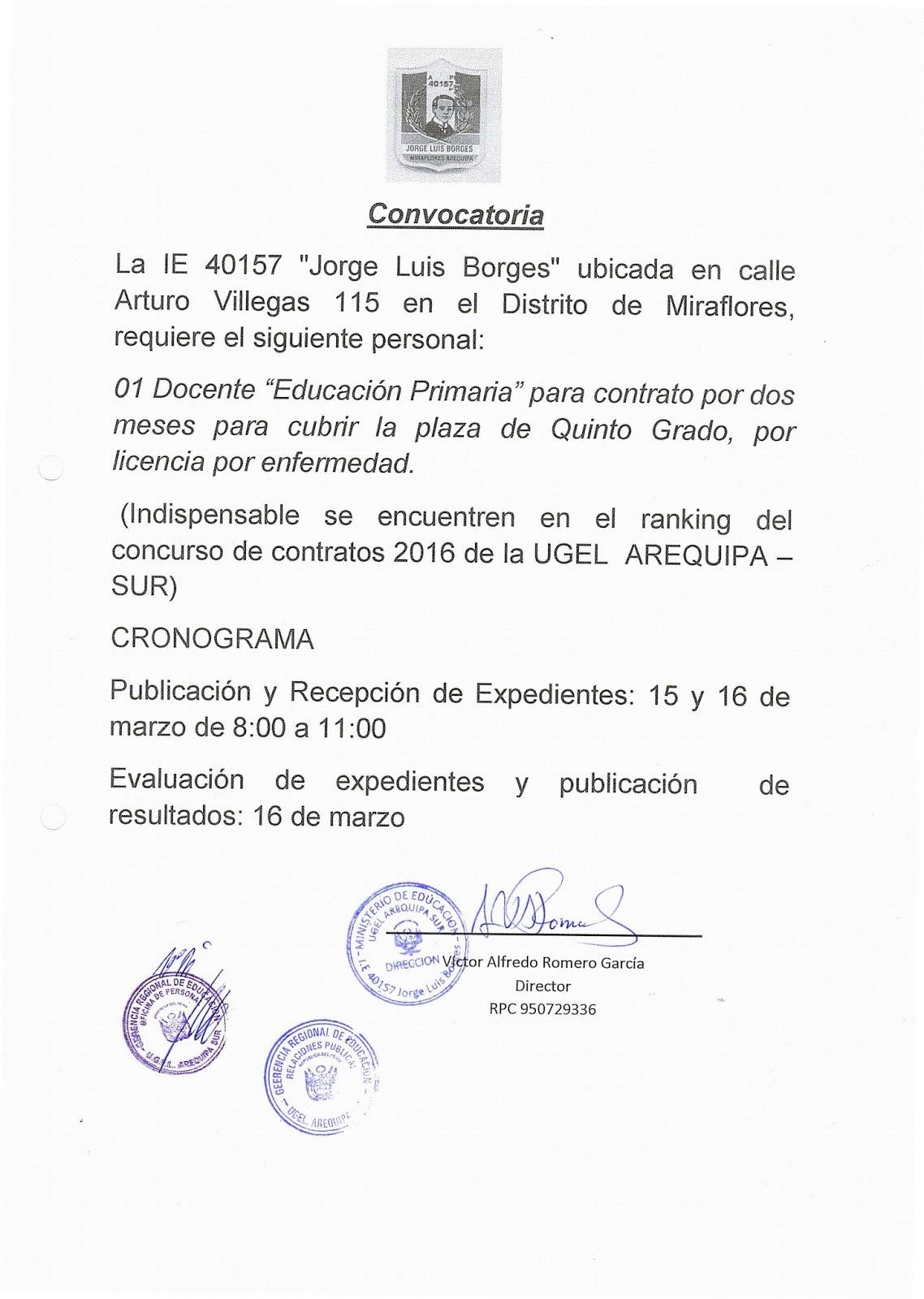 M s plazas de contrado docente 2016 ugel arequipa sur for Plazas de docentes 2016
