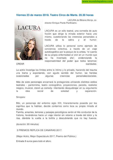 Programa cultural de la segunda quincena de marzo de 2018 Santa Cruz de La Palma