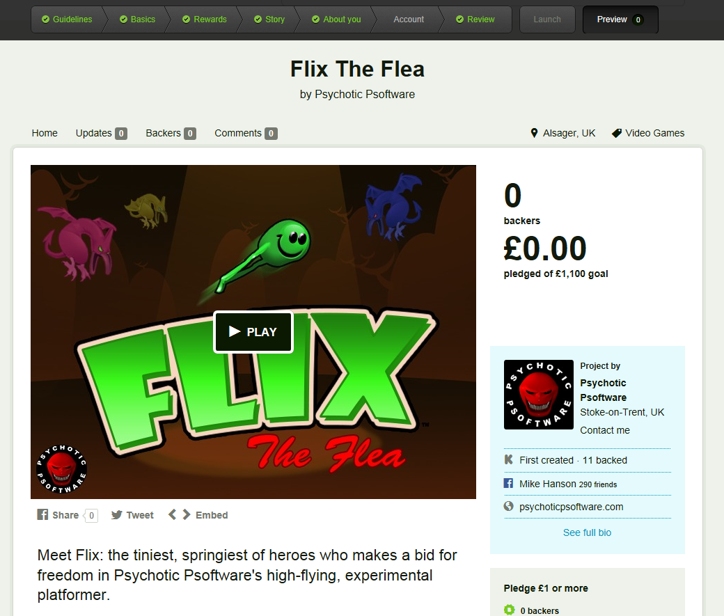 Work In Progress: A sneak-peek at the upcoming Kickstarter page for Flix The Flea.