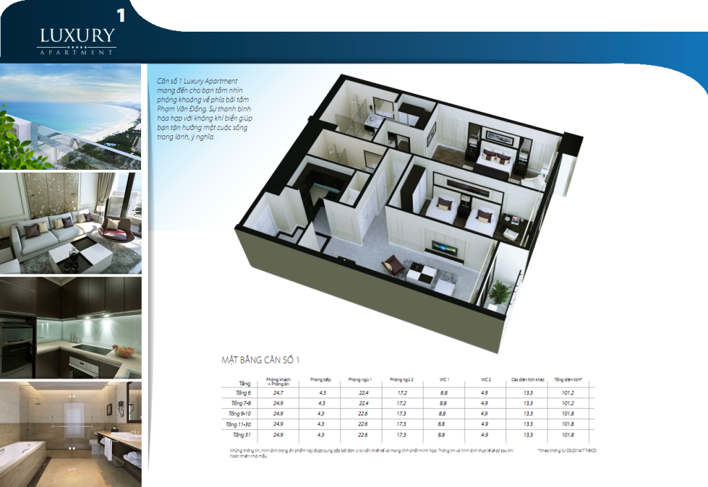 Chi tiết căn hộ 01 dự án Luxury Đà Nẵng