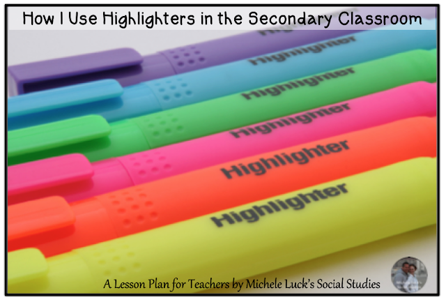 Quick tips and ideas for using highlighters effectively in the secondary classroom.