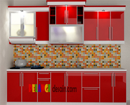 Kitchenset Pelangi Desain Interior Kitchen Set Merah Marun