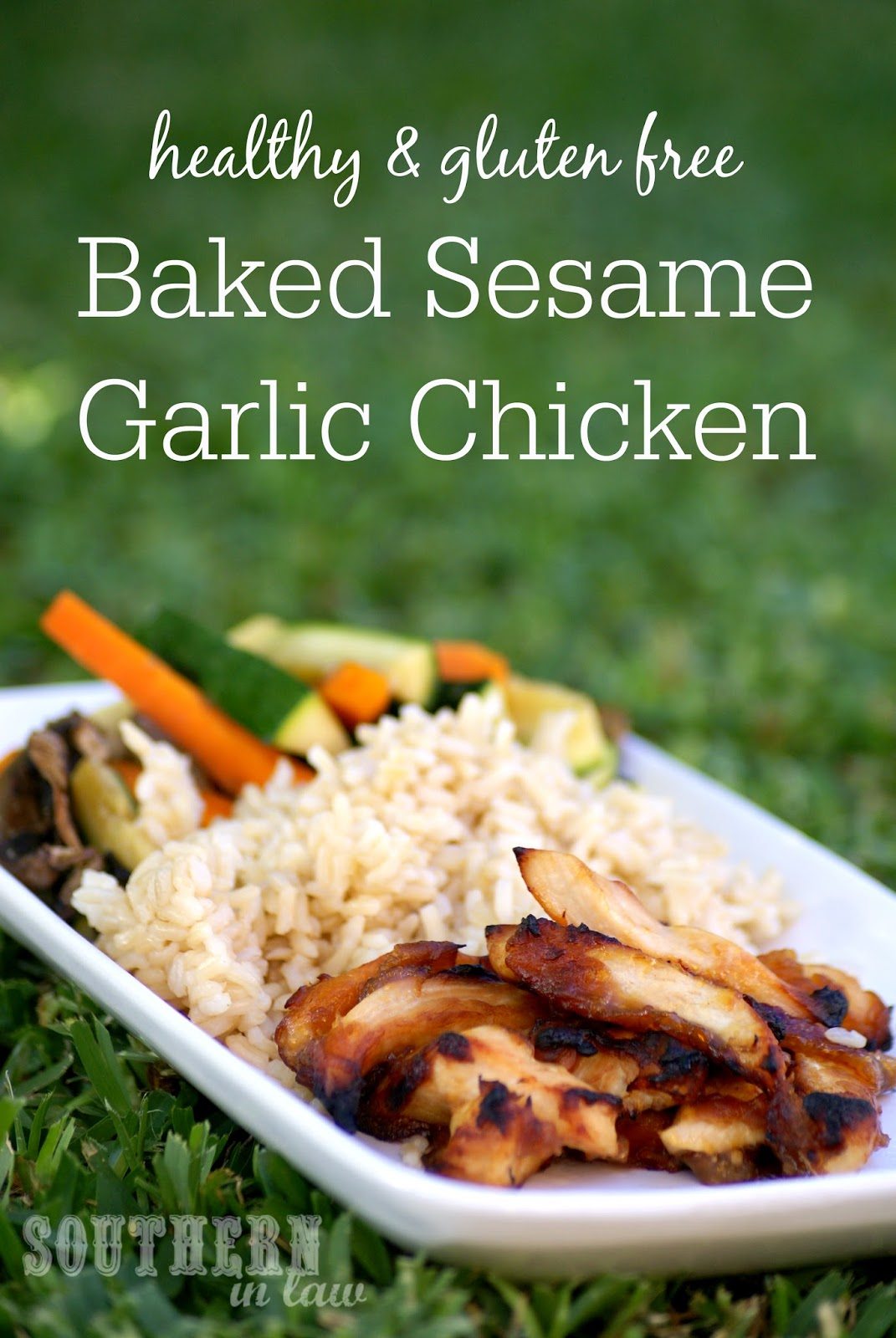 Healthy Baked Sesame Garlic Chicken Recipe with Stir Fried Vegetables - gluten free, low fat, low carb, healthy, sesame oil, asian recipes, dinner, chicken breast, high protein, lunch