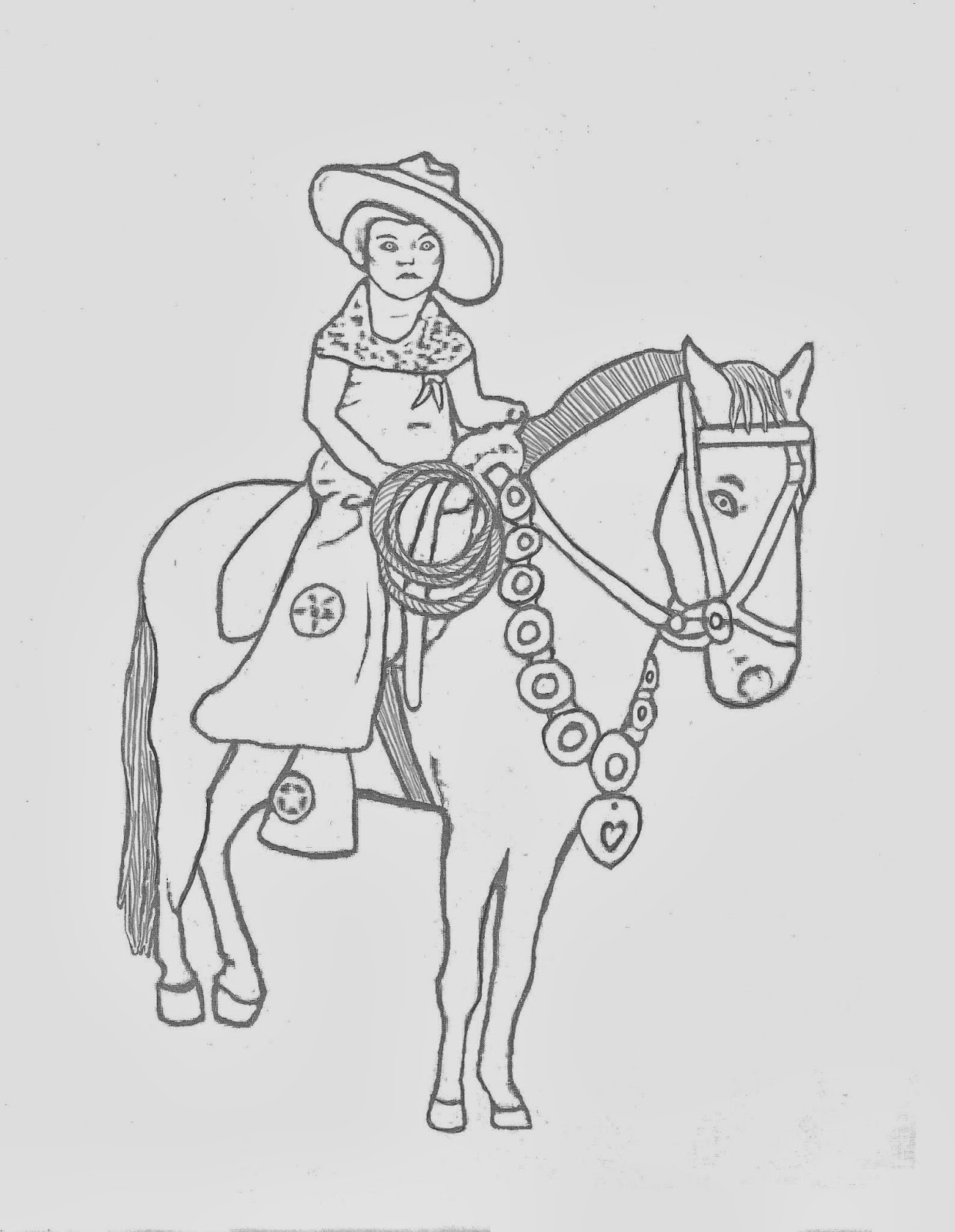 WESTERN COLORING PAGES: VINTAGE COWGIRL ON HORSE COLORING ...
