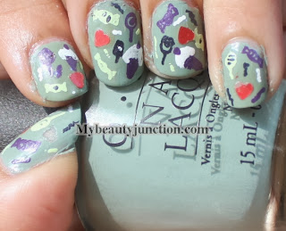 Trick or treat manicure for Hallowe'en nail art challenge with OPI Thanks a Windmillion and Suzi Says Feng Shui