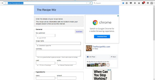 The Recipe Wiz, the form which creates the Printable recipe Sheet for use on blogs which use Blogger / Blogspot