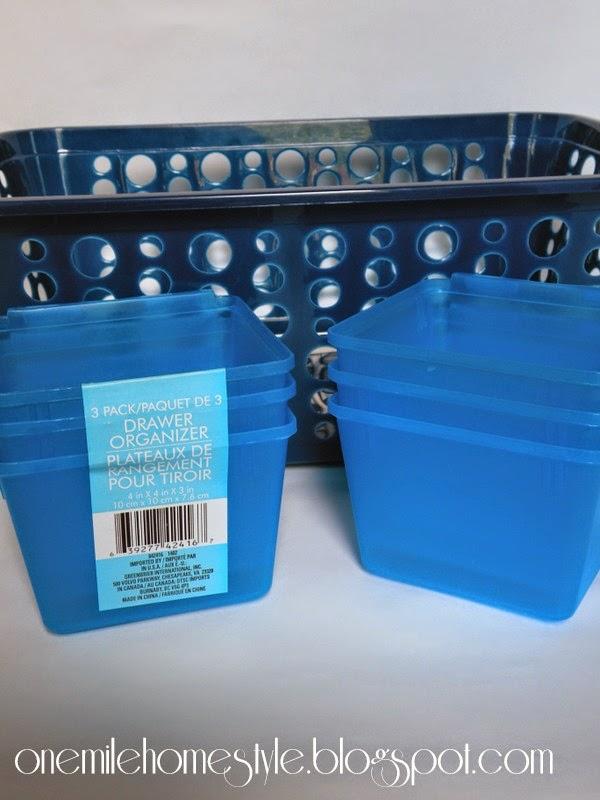 Dollar Tree baskets to organize road trip treats