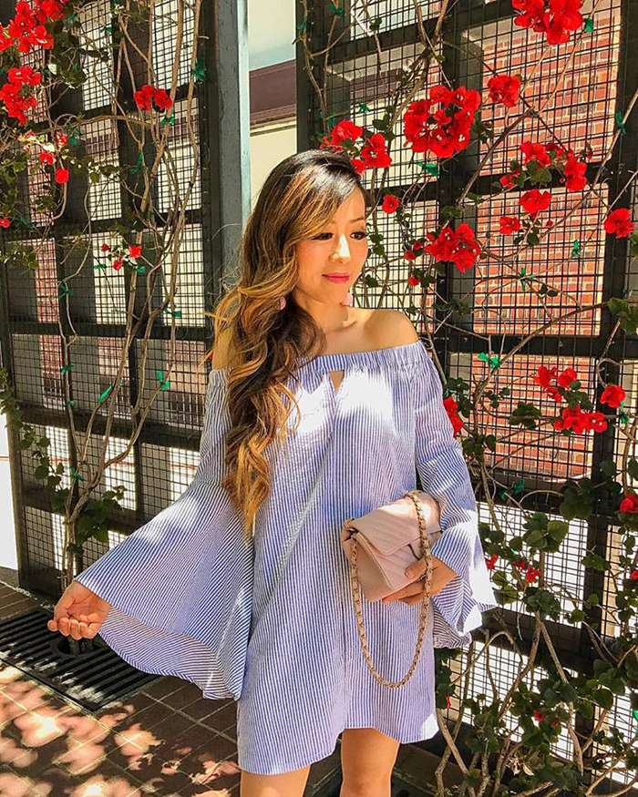 off shoulder bell sleeve dress, chanel classic flap bag, , must have date night dress, san francisco fashion blog, san francisco street style, date night dress ideas