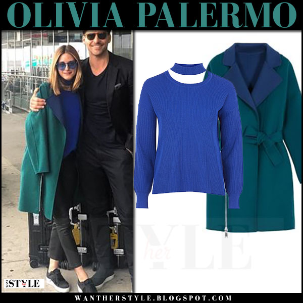Olivia Palermo in green coat max and co with black pants and blue sunglasses what she wore july 1 2017 airport style