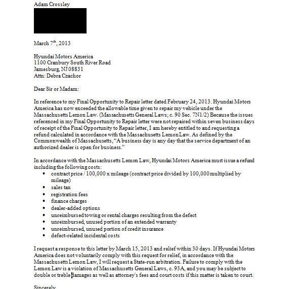 Vehicle Service Department Letter >> 2013 Hyundai Sonata Steering Problems