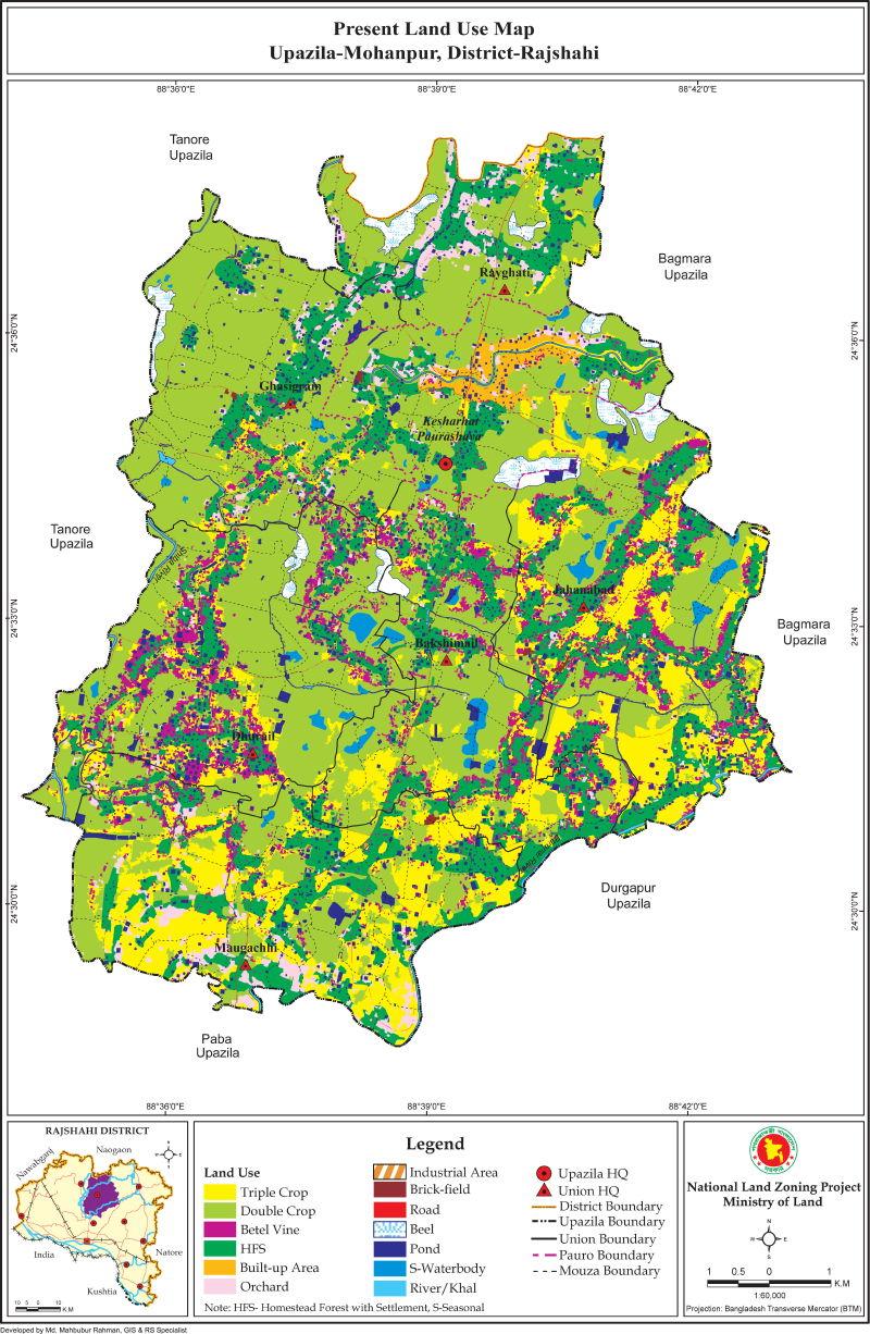 Mohanpur Upazila Mouza Map Rajshahi District Bangladesh