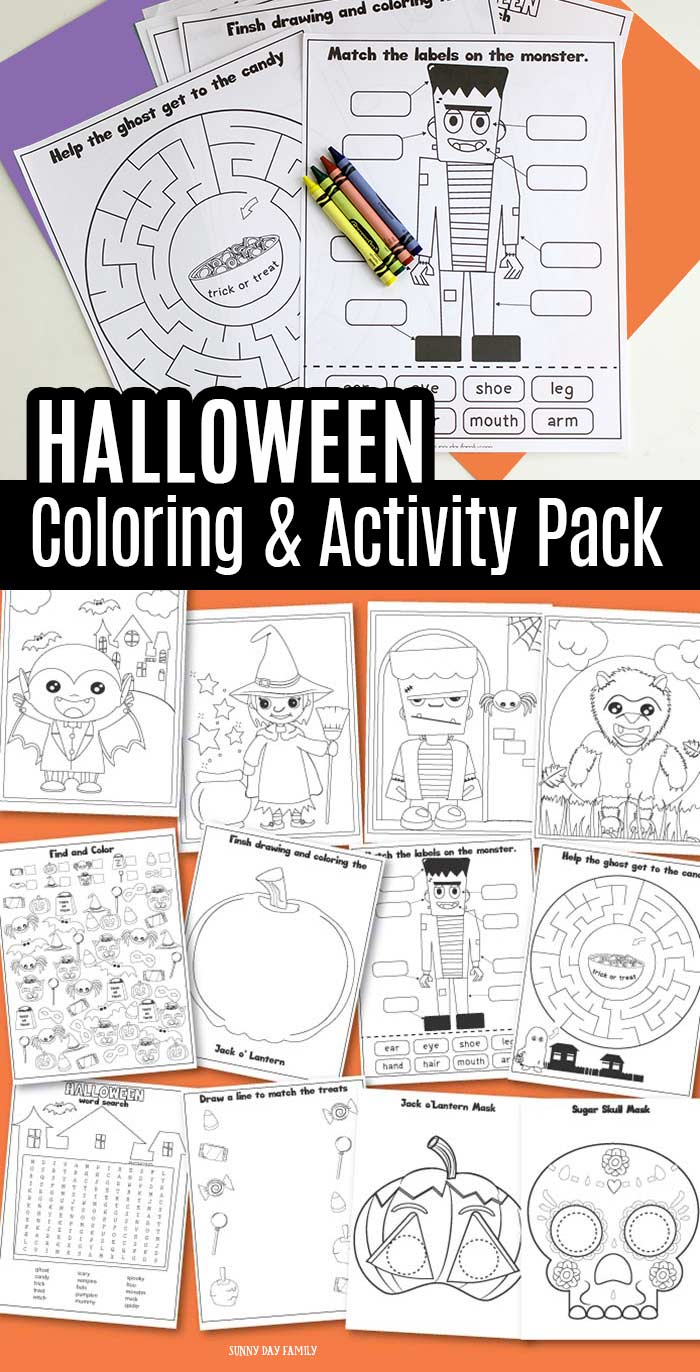 Printable Halloween activity pack for kids! A fun set of Halloween coloring pages, Halloween puzzles, Halloween activities, and Halloween drawing prompts for kids. Perfect for Halloween classroom party ideas, non candy trick or treating, and more! #Halloween #printables #Halloweencrafts #Halloweenparty
