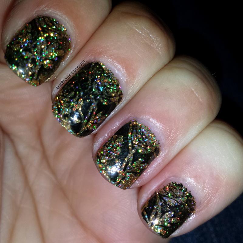 Black-Stamping-Over-Gold-Micro-Glitter-Nail-Polish