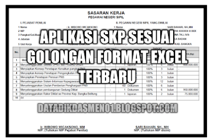 Aplikasi SKP Sesuai Golongan Format Excel Terbaru