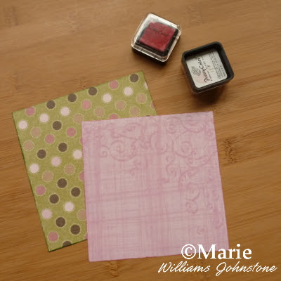 Pink and green scrapbook papers with stamped inked edges