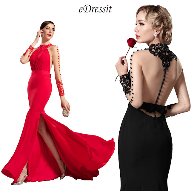 Long Sleeves Red Evening Dress Prom Gown