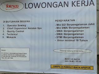 Info Lowongan Kerja Operator Terbaru PT Fotexo Busana International di Bogor