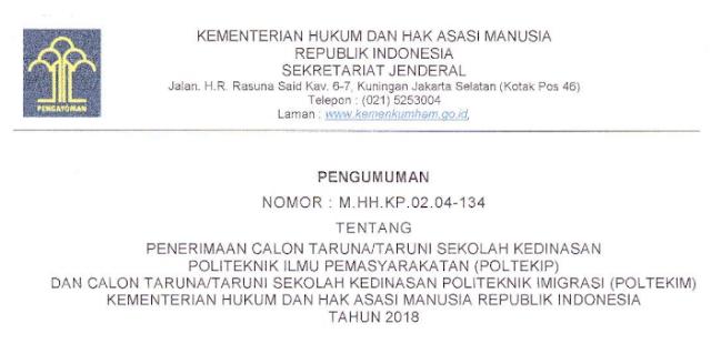 Info Pengumuman Penerimaan Calon Taruna/i Sekolah Kedinasan Poltekip dan Poltekim